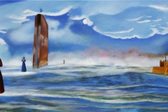 At kunne gaa paa vandet Akrylmaleri 60x120 cm 20000,-kr m.r.