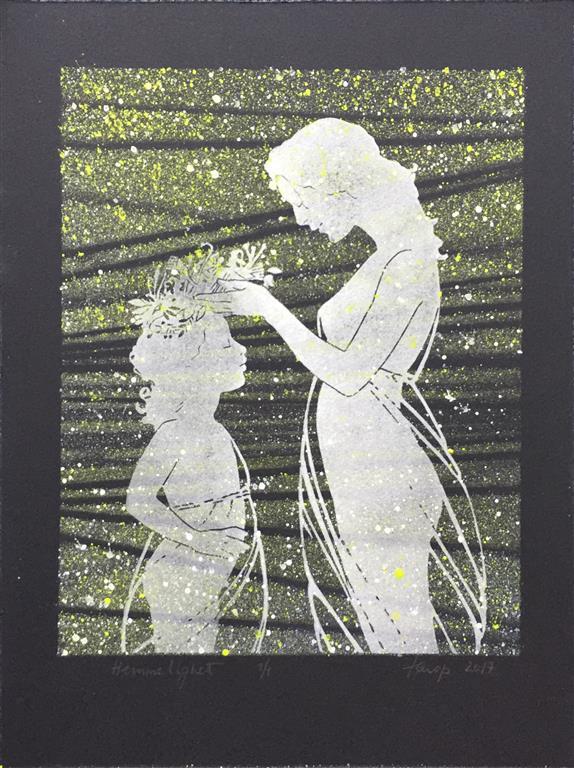 Hemmelighet II Linosnitt håndkolorert (29x22 cm) kr 1500 ur