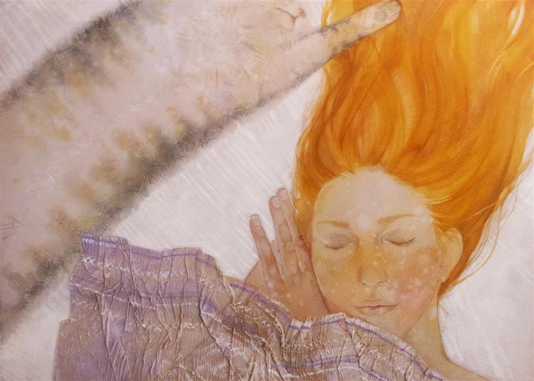Hvit drøm Mixed media (50x70 cm) kr 8000 ur