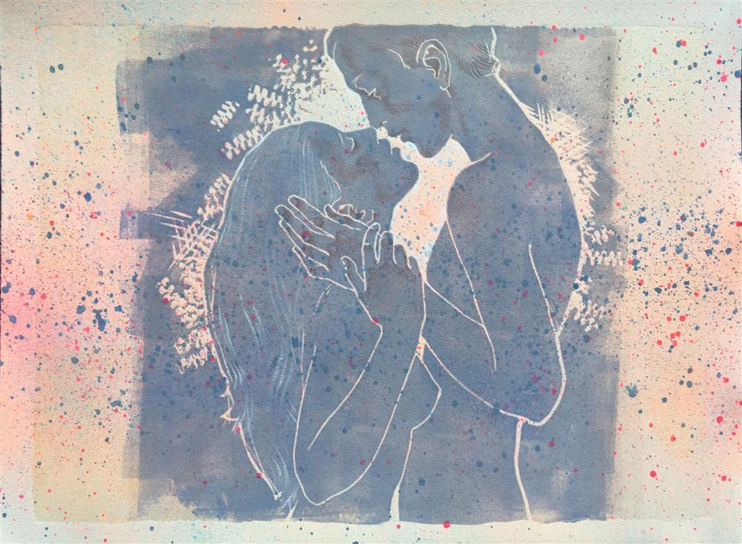 Jeg lover III Linosnitt håndkolorert (30x40 cm) kr 1800 ur
