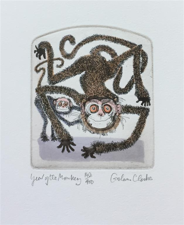 Year of the Monkey Etsning (13x11 cm) kr 1000 ur