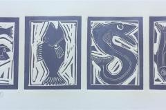 Ichtybet Linosnitt (15x50 cm) kr 1600 ur