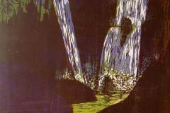 Dobbelt fossefall Tresnitt 70x65 cm 2000 ur