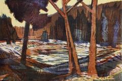 Solskinnsdag i skogen Tresnitt 51x66,5 cm 1600 ur