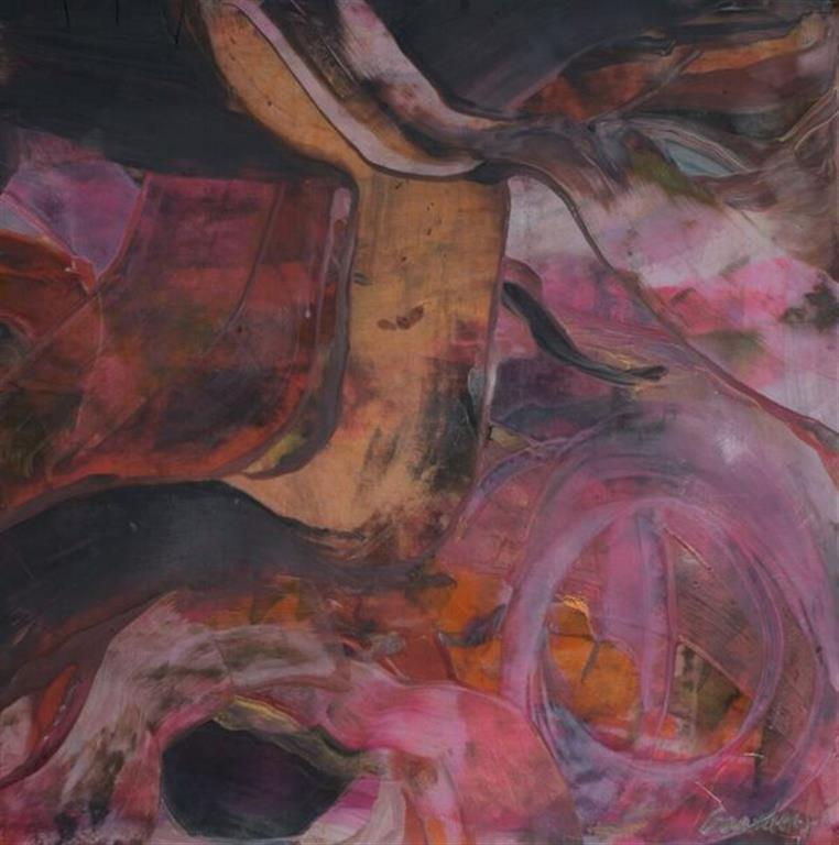 Komposisjon 3 Encaustic (38x36 cm) kr 3000