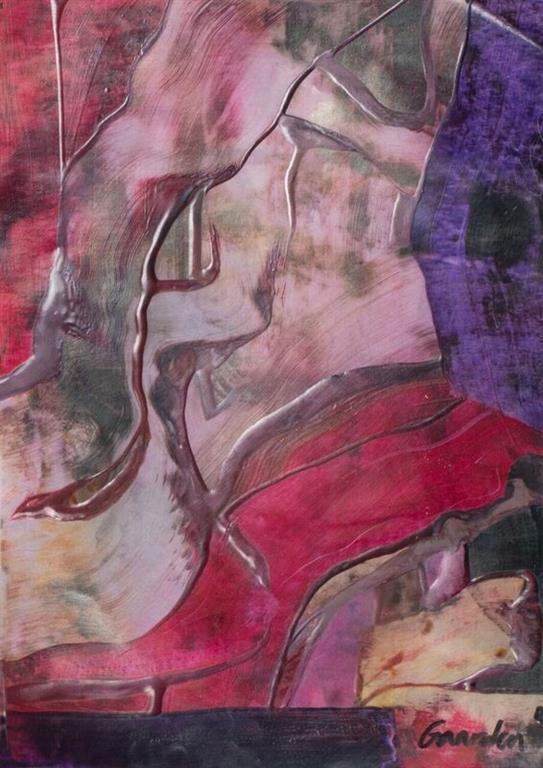 Komposisjon 7 Encaustic (30x38 cm) kr 2500