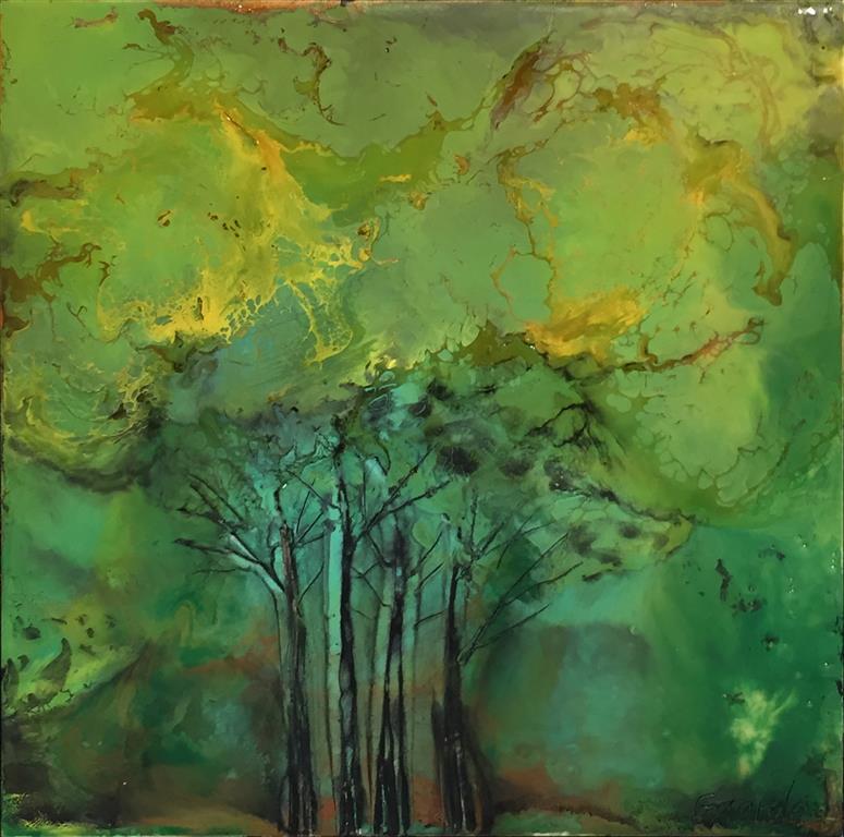 Landskap 26 Encaustic (22x22 cm) kr 2000