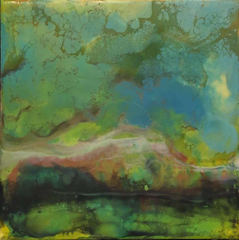Landskap 28 Encaustic (22x22 cm) kr 2000