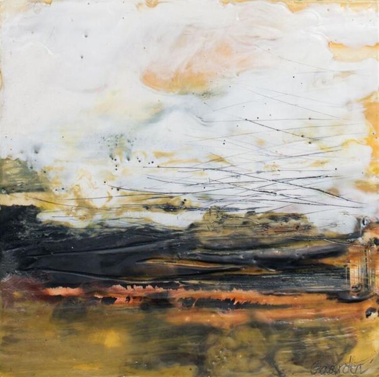 Landskap 30 Encaustic ( 22x22 cm) kr 2000