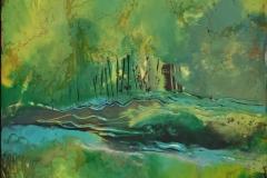 Landskap 27 Encaustic (22x22 cm) kr 2000