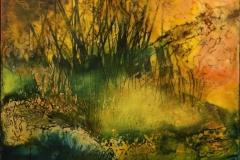 Landskap 3 Encaustic (22x22 cm) kr 2000