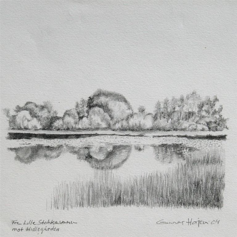 Fra Lille Stokkavann mot Hidlegaarden Tegning 18x18 cm 1800 ur