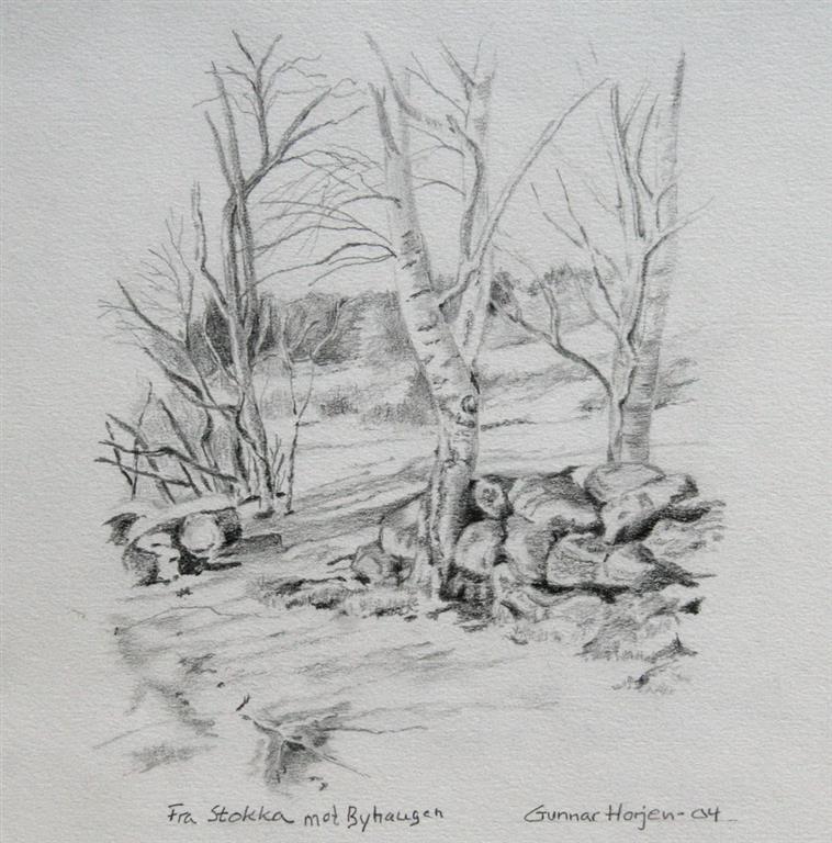 Fra Stokka mot Byhaugen Tegning 20x20 cm 1800 ur