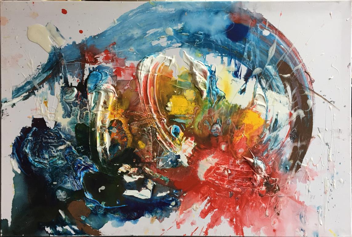 Blue wave Akrylmaleri (60x90 cm) kr 4000 ur