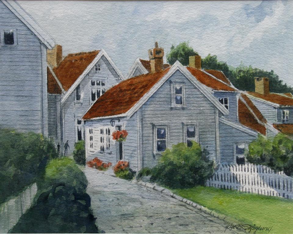 Fra Gamle Stavanger II Akvarell 30x38 cm 4500 mr