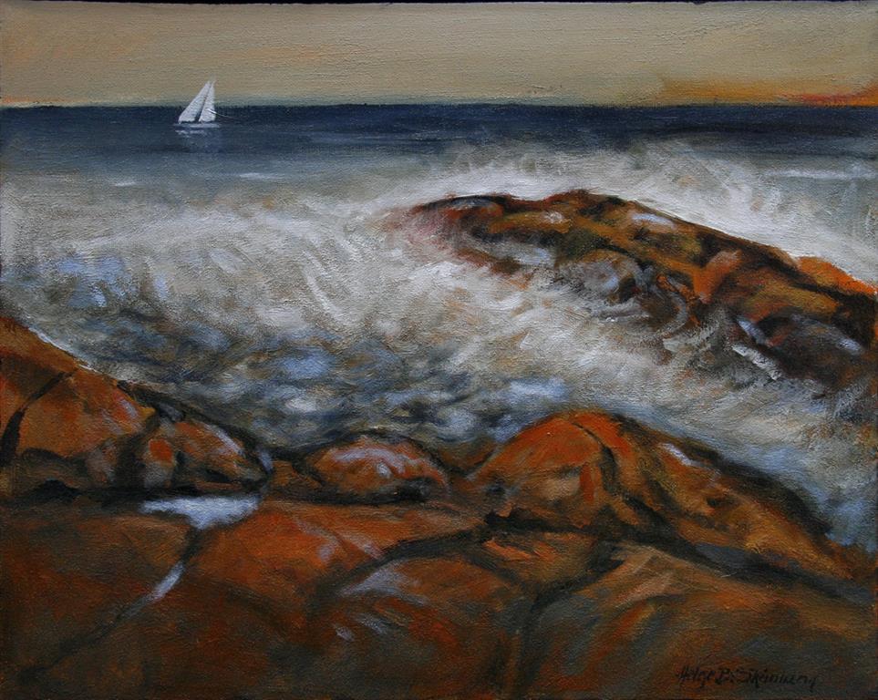 Ved havet Maleri 40x49 cm 5500 ur