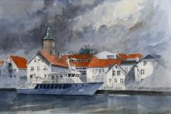 Stavanger Akvarell 34x51 cm 5000 mr
