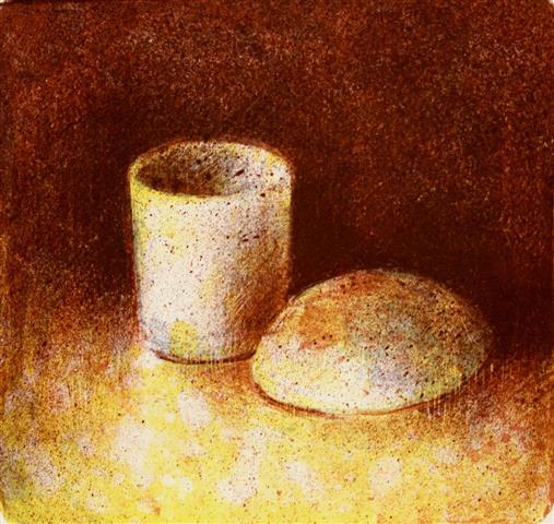 Maaltid I(kopp og bolle) Litografi 18x19cm 1300,-kr m.r.