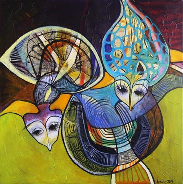 Spøgefugle I Akrylmaleri (80x80 cm) kr 7000