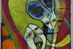 De vaegtloese Akryl paa haandlaget papir 37,5x37,5 cm 2000 mr