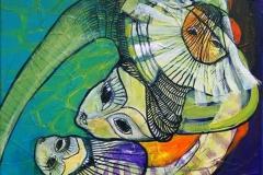 Den Turbulente Familie Akrylmaleri 40x40 cm 3000