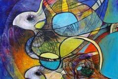 Flyvefisk Akrylmaleri (80x80 cm) kr 7000 ur