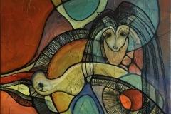 Maskerade III Akrylmaleri (80X80 cm) kr 8000 ur