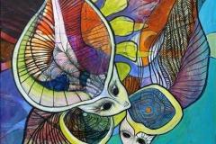 Regnskovseventyr I Akrylmaleri (80x80 cm) kr 7000 ur