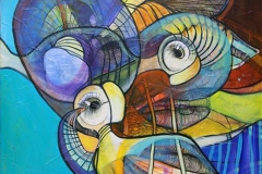 Regnskovseventyr II Akrylmaleri 80x80 cm 7000