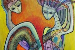Uadskillelige Akrylmaleri 120x120 cm 12000
