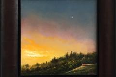 Gylden aften. Oljemaleri (25x25 cm) kr 11000 mr