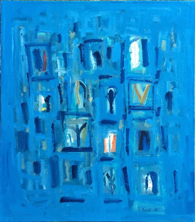 La ville bleu III Oljemaleri (60x53 cm) kr 10000 ur