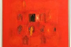 Komposisjon rød Oljemaleri (60x60 cm) kr 12000 mr
