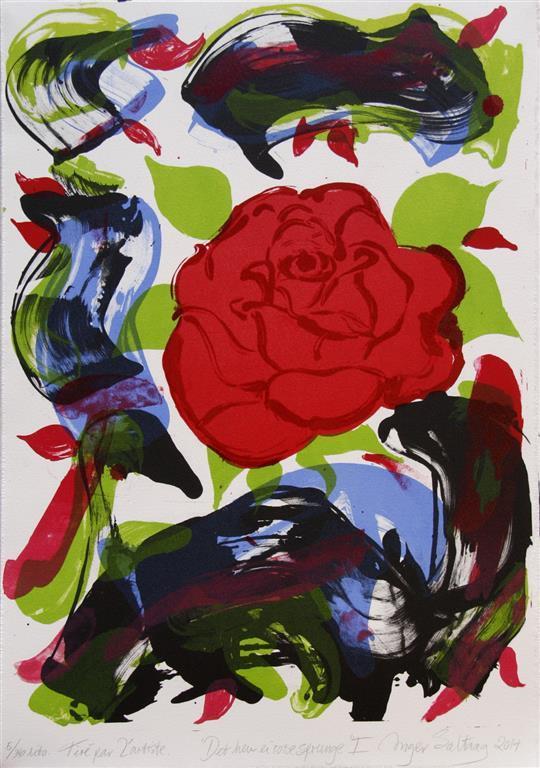 Det hev ei rose sprunge I Litografi 42x32 cm 2500 ur