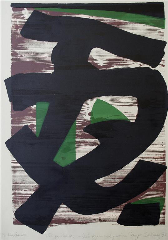 Lik tegn - med groent Litografi 70x47 cm 4000 ur