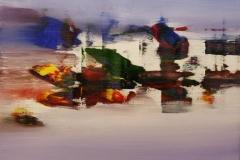 Ved sjoeen I Akrylmaleri 60x60 cm 6000 mr