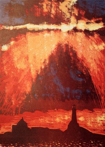 Solen bryter gjennom Tresnitt 35x25 cm 1900,-kr u.r.