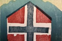 Den norske hus Tresnitt 11,5x11 cm 500,-kr u.r.