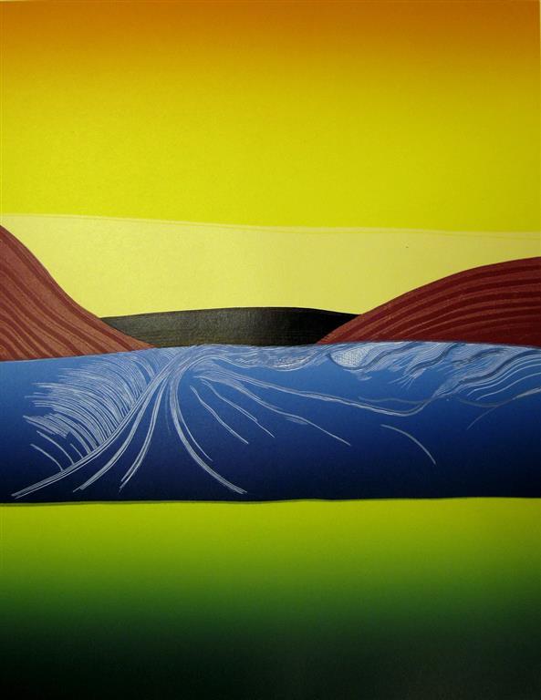 Goldt landskap (Snorre) Linosnitt (57,5x44,5 cm) kr 4500 ur