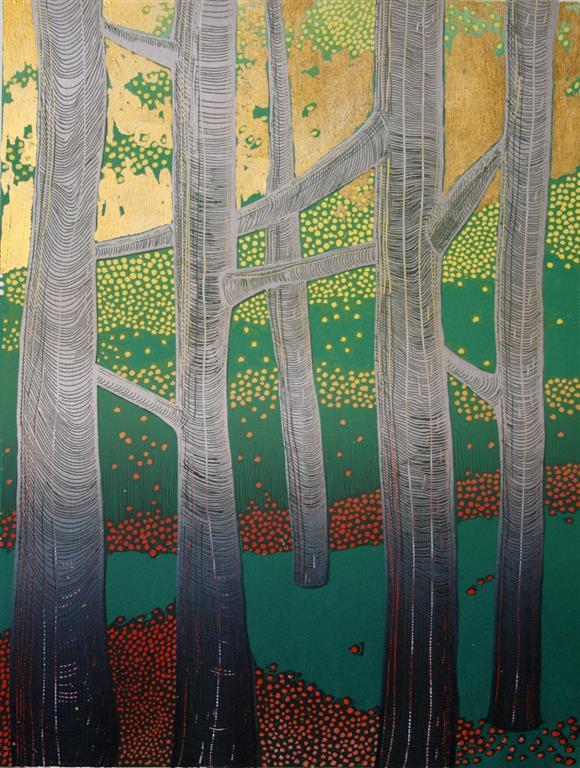 Lys mellom trærne Linosnitt (40x30 cm) kr 2500 ur