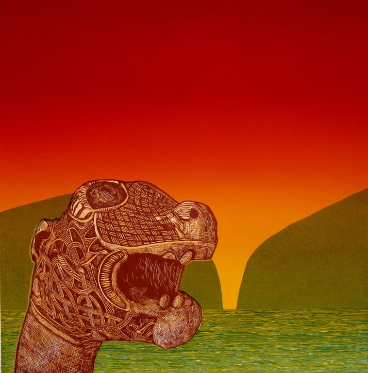 Oseberg, natt Linosnitt (50x49,5 cm) kr 4000 ur
