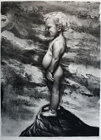 Kongen på haugen (svart/hvit) Litografi (57x42 cm) kr 3000 ur