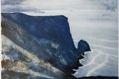 Vest i havet Litografi (28x29 cm) kr 2000 ur