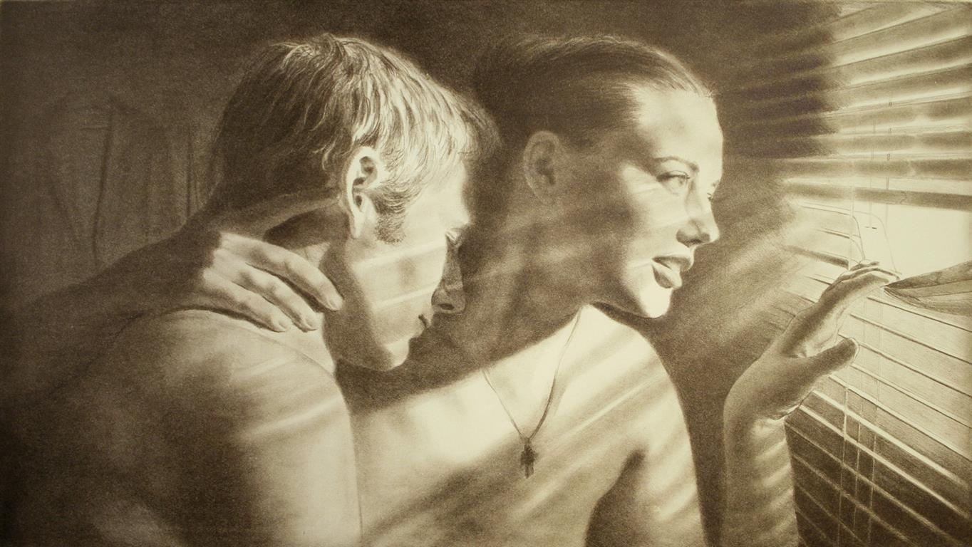 De elskende Litografi 41x74 cm 3500 ur (Medium)