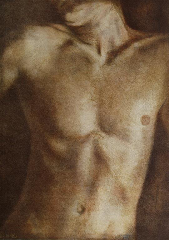 Mann torso Litografi 51x36 cm 2500 ur (Medium)