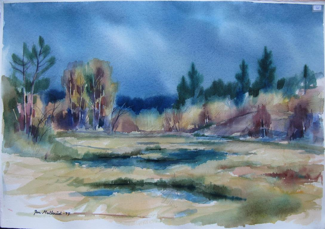 Aapent landskap Akvarell 37x52,5 cm 2500 ur