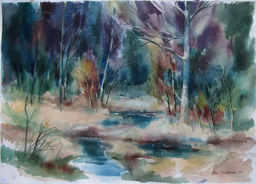 Hoestskog Akvarell 37x52,5 cm 2500 ur