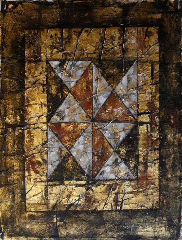 Sprukken tavle Bl.tekn., bladgull 62,5x48 cm 4000 ur