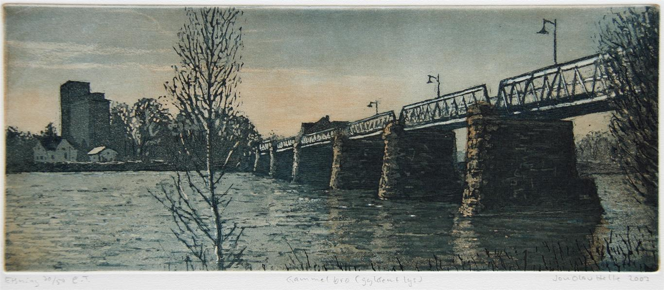 Gammel bro (gyldent lys) Etsning 13,5x33 cm 1200 ur