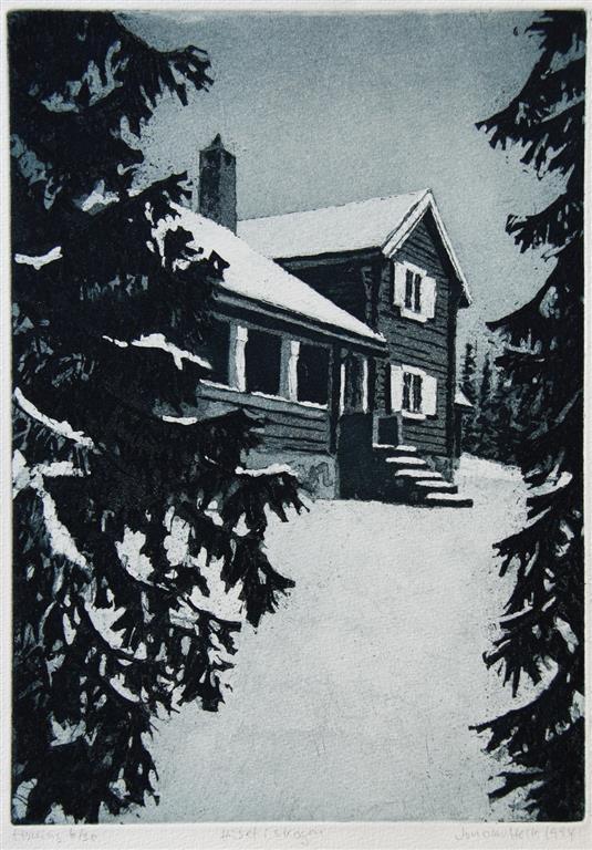 Huset i skogen Etsning 27,5x20 cm 800 ur
